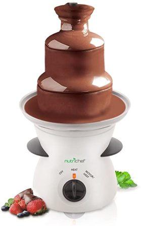 NutriChef PKFNMK16 Electric Chocolate Fondue with High Powered Heating Element