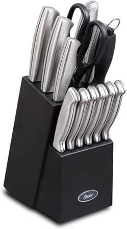 Oster Baldwyn 14-Piece Brushed Satin Cutlery Block Set