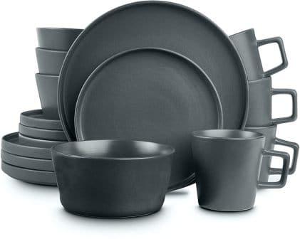 Stone Lain Coupe 16-Piece Dinnerware Set (Grey Matte)