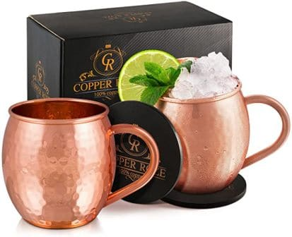 Copper Roze Moscow Mule Copper Mugs Gift Set of 2