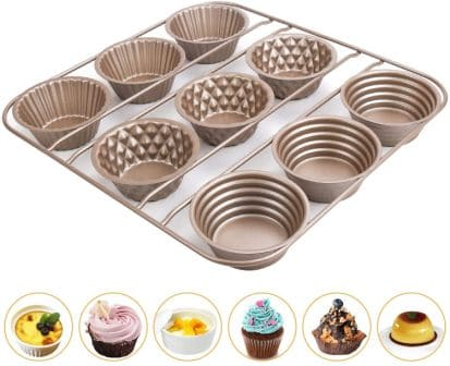 IEBIYO 9 Cup Carbon Stell Popover Pan