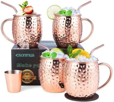 Moscow Mule Copper Mugs, Euonymus Set of 4 Handcrafted Copper Mugs