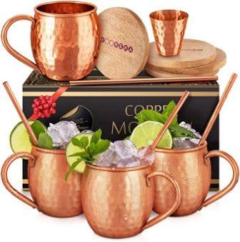 Yooreka Moscow Mule Copper Mugs Set 4 16 oz