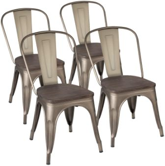 KaiMeng Metal Dining 4 Chairs Set