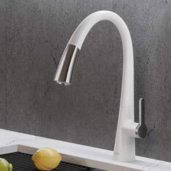 Kräus: Single Handle Pull-Down Kitchen Faucet in Chrome/White (Model No.: KPF-1673CHWH)