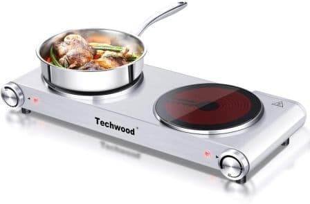 Techwood Store Infrared Powerful & Safe Double Burner Stove