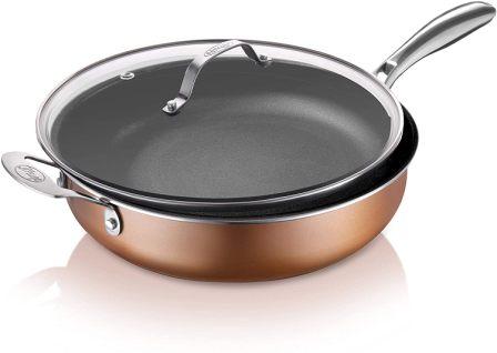 Gotham Steel Jumbo Cooker/Sauté Pan for Effortless Cleanup
