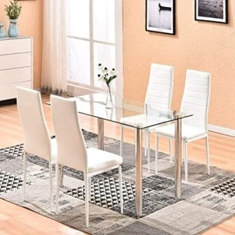 4Homart 5-Piece White Glass Kitchen Table Set