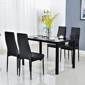 Bonnlo 5-Piece Black Glass Kitchen Table Set