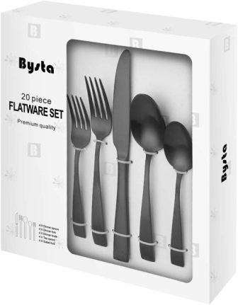 Bysta 20-Piece Matte Black Silverware Set