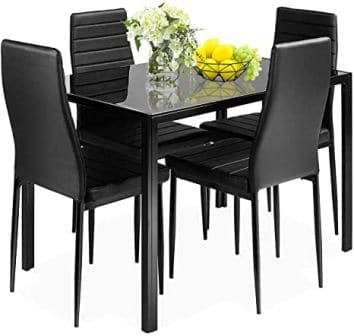 Giantex 5-Piece Black Glass Kitchen Table Set