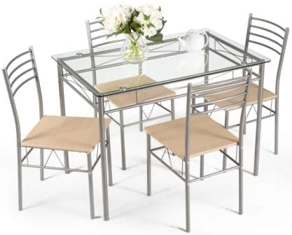 Giantex 5-Piece Glass Kitchen Table Set