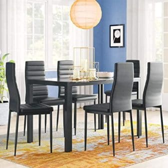 IDS Home 7-Piece Black Leather Chair Glass Kitchen Table Set