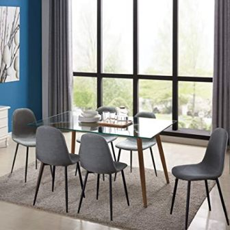 IDS Home 7-Piece Grey Fabric Chair Glass Kitchen Table Set
