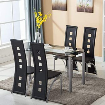 Joybase 5-Piece Black Glass Kitchen Table Set