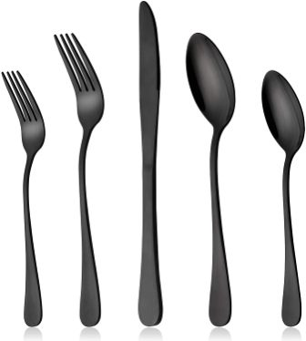 Lianyu 20-Piece Matte Black Silverware Set