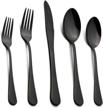 Lianyu 40-Piece Matte Black Silverware Set