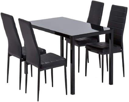 Mecor 5-Piece Black Glass Kitchen Table Set