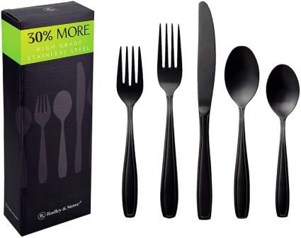 Radley & Stowe 20-Piece Matte Black Silverware Set