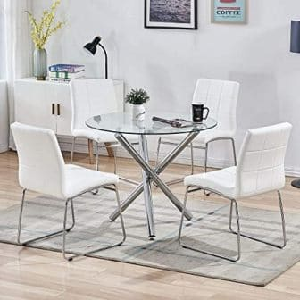 Sicotas 5-Piece White Glass Kitchen Table Set