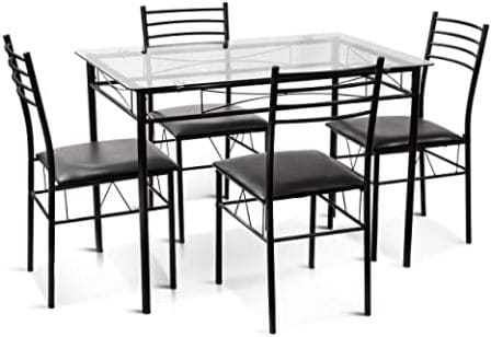 Tangkula 5-Piece Black Glass Kitchen Table Set