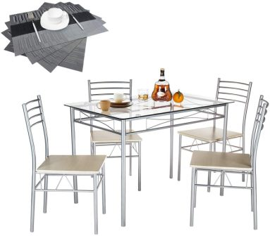Vecelo 5-Piece Silver Glass Kitchen Table Set